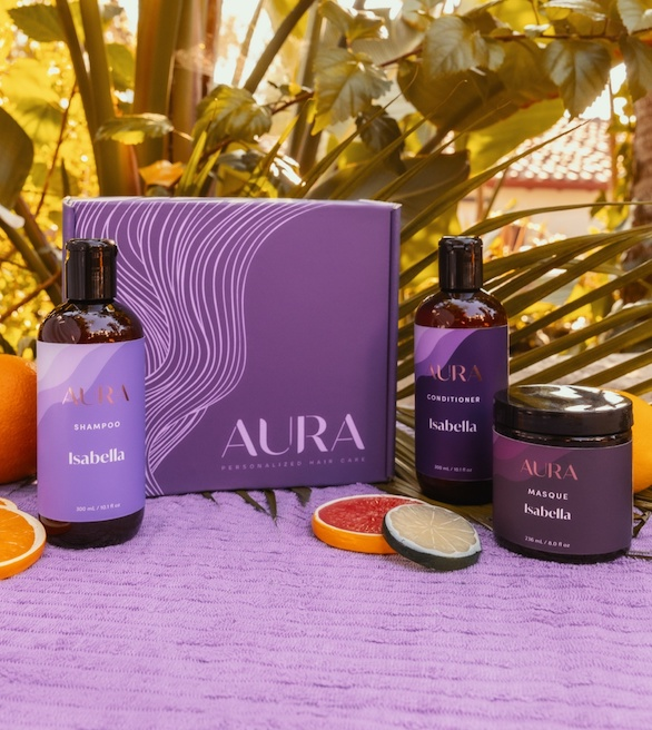 Aura personalized hair box with custom shampoo, conditioner, and mask