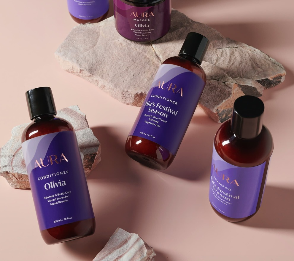 Aura personalized shampoo, conditioner, and mask