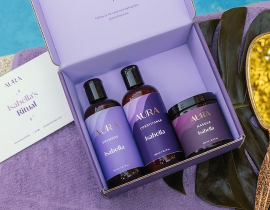 Aura shampoo, conditioner, and mask are sustainably packaged and produced