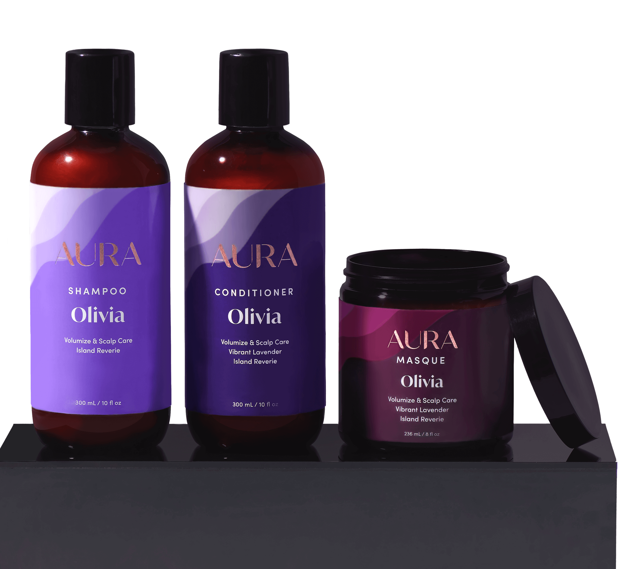 Aura custom hair care box with shampoo, conditioner, and mask