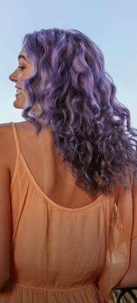 Woman with purple hair color