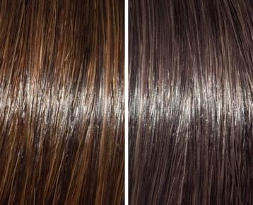 Dark brown before/after